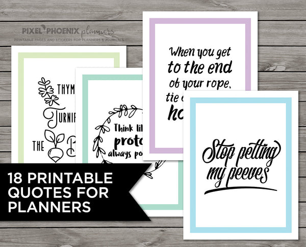18 Funny Sayings, Planner Printables