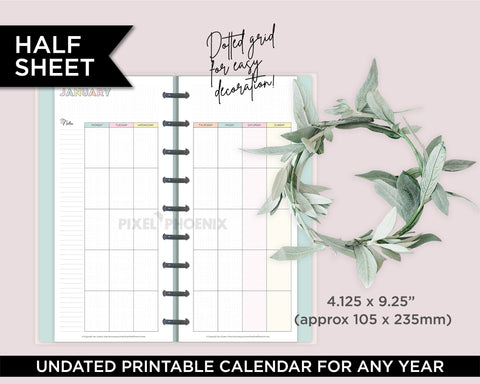 Half Sheet Printable Calendar pages, Undated Calendar