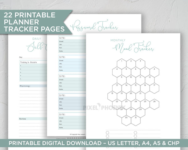 22 Blue Tracker Pages, Printable Trackers