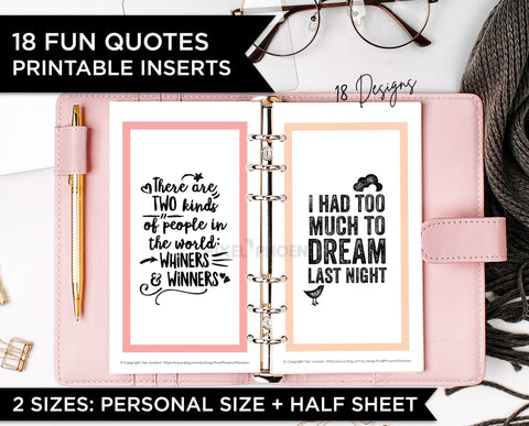18 Planner Quotes, Personal Planner size, Half Sheet Inserts
