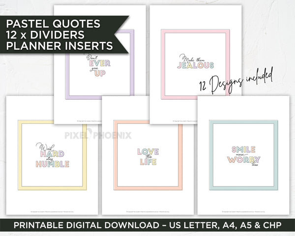 Printable Planner Inserts, Motivational Sayings