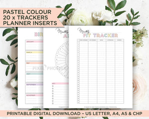 20 Printable pastel colour Tracker Pages