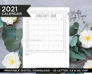2021 Calendar Pages, Printable Calendar pages