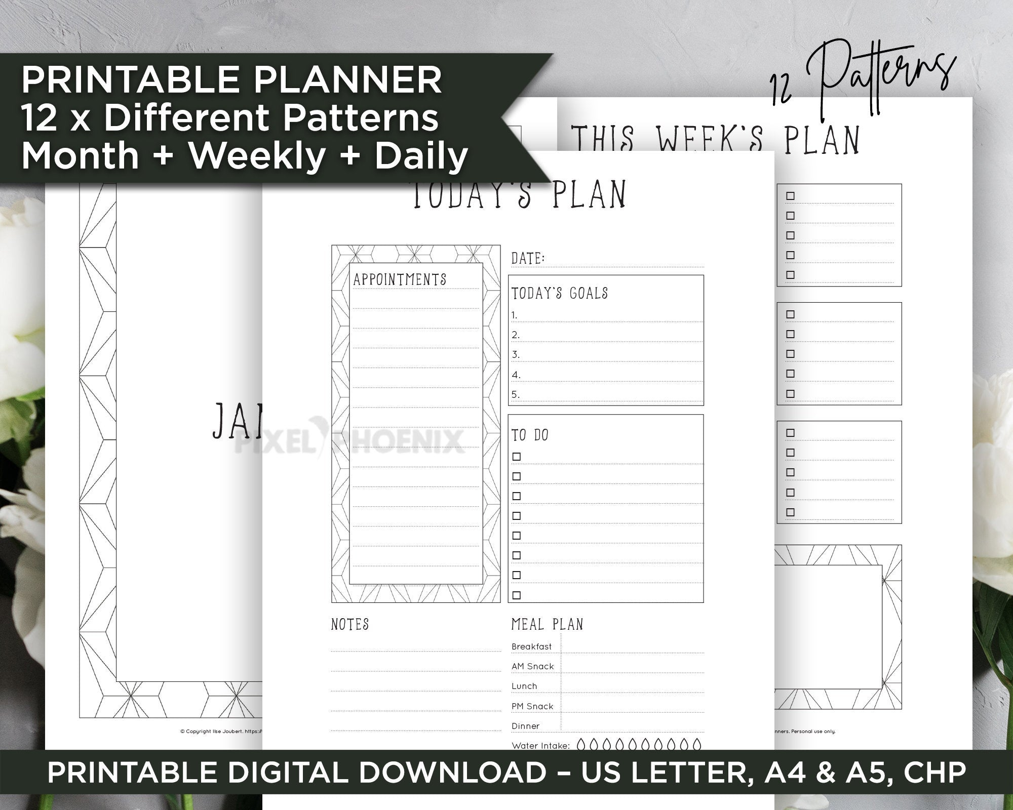 Printable Planner Inserts, Undated Planner