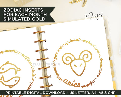 Zodiac Inserts, Printable Planner Dividers, Planner Inserts