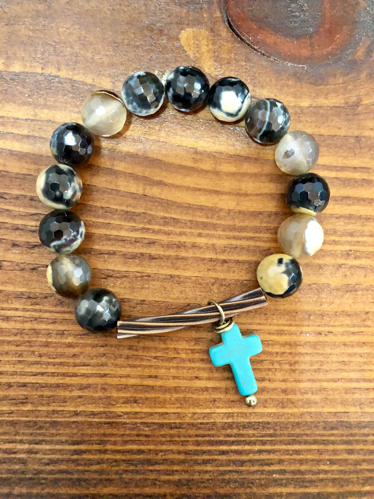 Dark beads with Teal Cross Bracelet