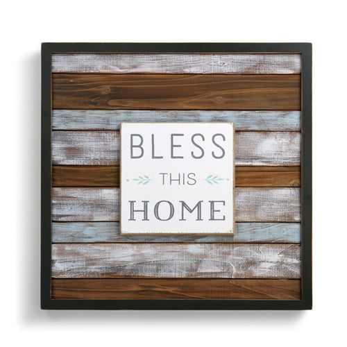 Blue Washed Wooden Wall Art