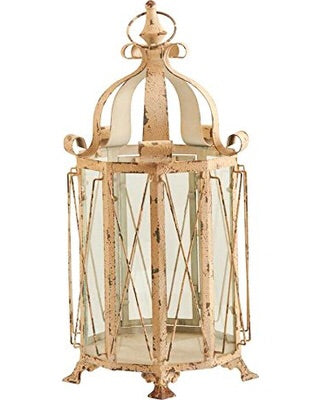 "21.5"" Distressed Cream Lantern"