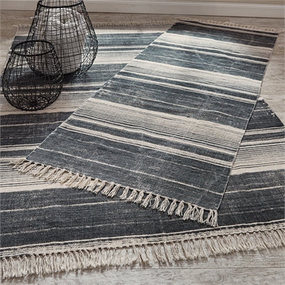 Paintbrush Stripe Rug- Slate