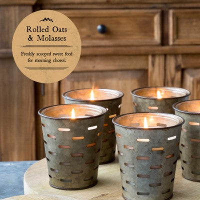 Rolled Oats And Molasses Olive Bucket Fragrance Candle