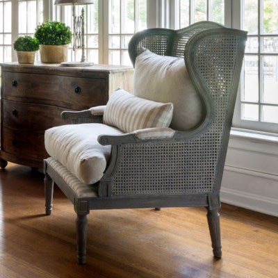 Caned Wingback Lounge Chair