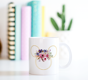 Floral Minnie Ears Ceramic Coffee Mug