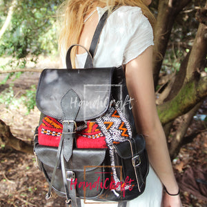 Leather and Kilim Black Backpack