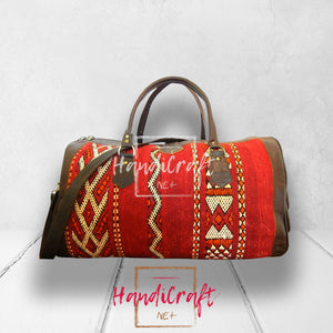 Leather Kilim Travel Bag Marrakesh