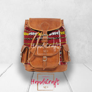 Leather and Kilim Backpack In Tan Brown