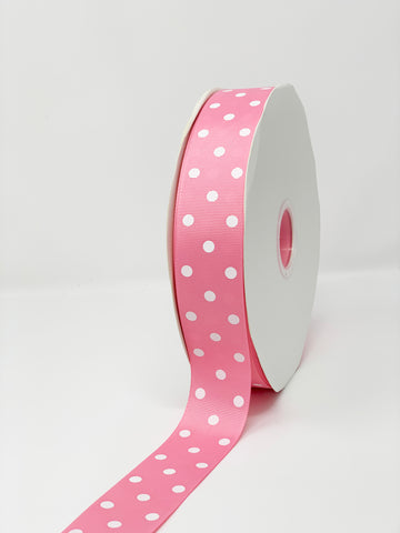 Grosgrain Ribbon Polka Dot Pink with White Dots (W: 1-1/2 inch | 100 yards)