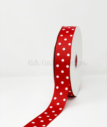 Grosgrain Ribbon Polka Dot Red with White Dots (W: 1-1/2 inch | 100 yards)
