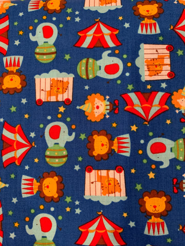 Timeless Treasures Circus Blue Fabric 100% Cotton Fabric - 1 yard