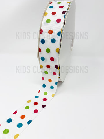 Grosgrain Ribbon Polka Dot Multi Colored Dots (W: 1-1/2 inch | 100 yards)
