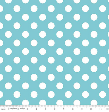 Medium Dot Aqua Blake 100% Cotton -1 yard