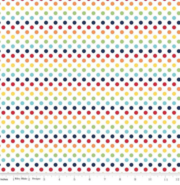 Small Dot Rainbow Riley Blake 100% Cotton - 1 yard
