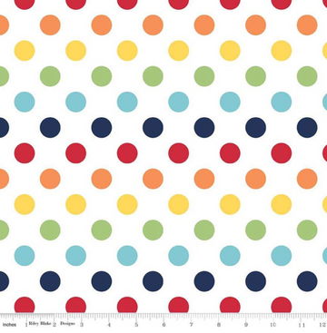 Medium Dot Rainbow Riley Blake 100% Cotton - 1 yard