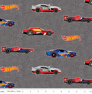 Hot Wheels Main Gray Riley Blake 100% Cotton - 1 yard