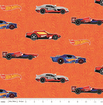 Hot Wheels Main Orange Riley Blake 100% Cotton - 1 yard
