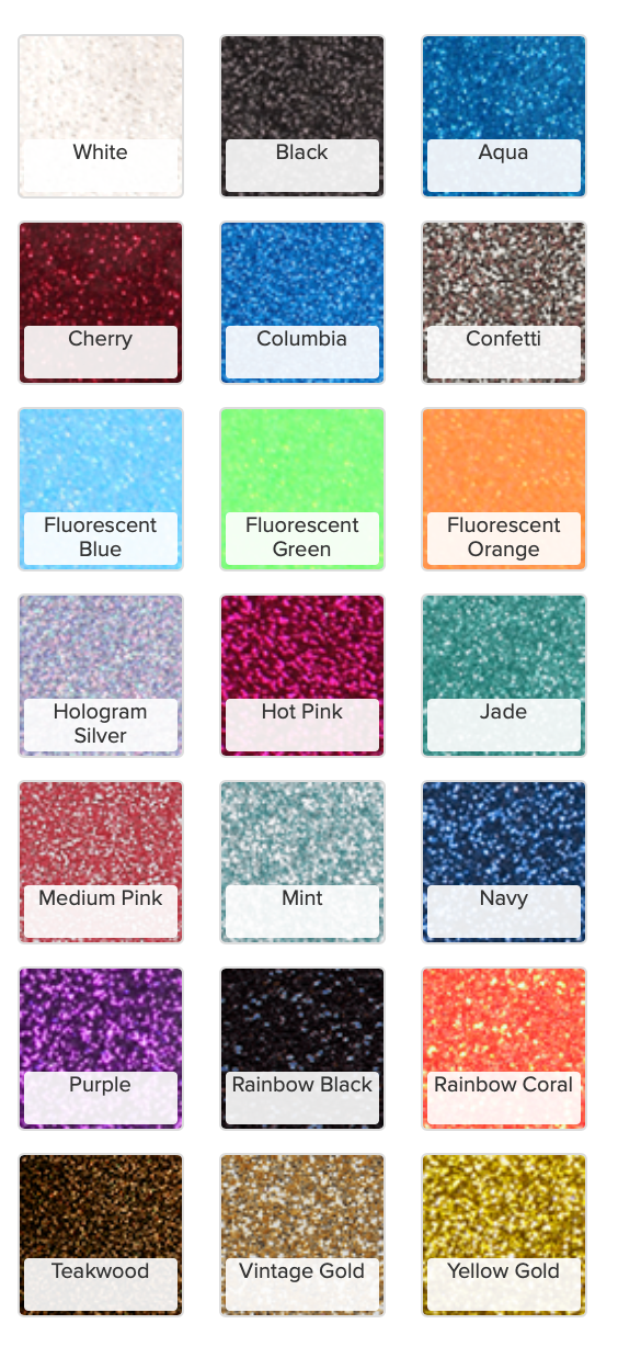 GLITTER FLAKE HEAT TRANSFER VINYL 12 INCHES X 20 INCHES