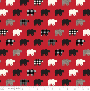 Wild at Heart Bears Red Riley Blake 100% Cotton -1 Yard