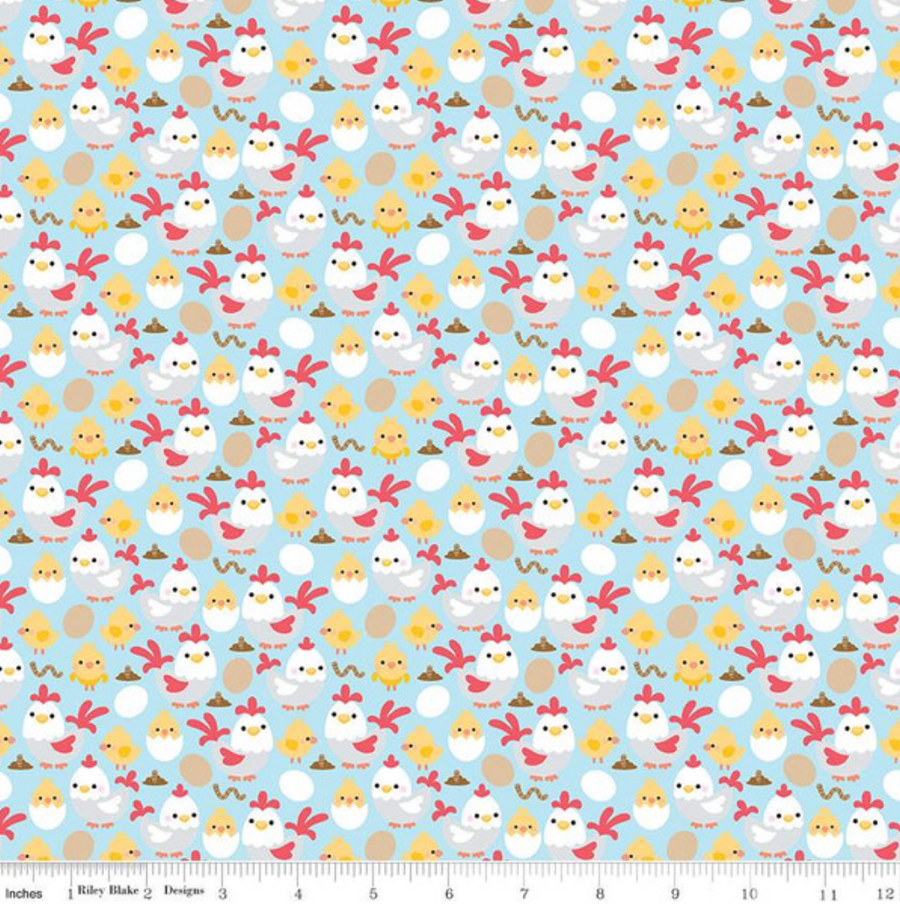 Down on the Farm Chickens Blue Riley Blake 100% Cotton -1 Yard