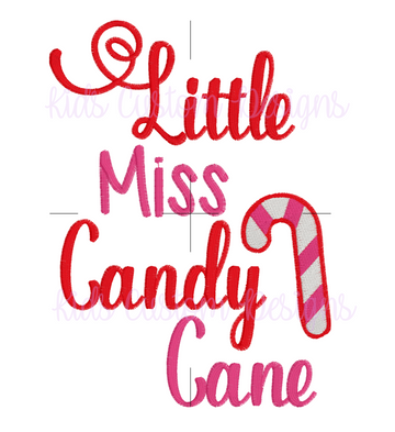 Little Miss Candy Cane Embroidery Design