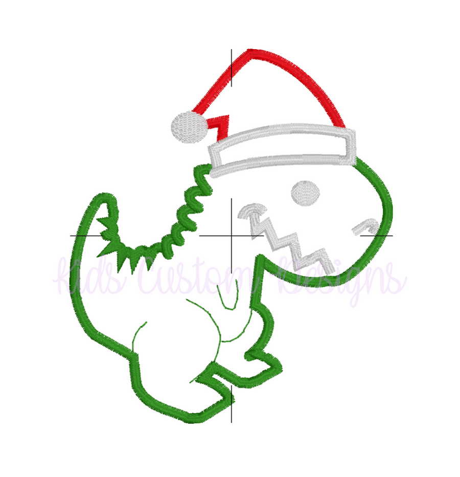 Christmas Dinosaur Embroidery Appliqué Design