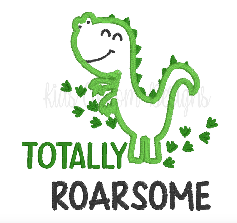 Totally Roarsome Embroidery Appliqué Design