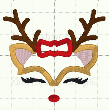 Reindeer Face Embroidery Appliqué Design