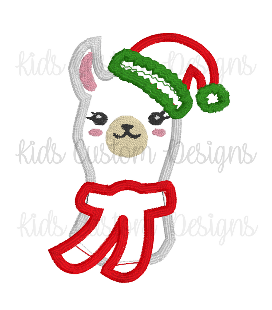 Christmas Llama  Embroidery Appliqué Design