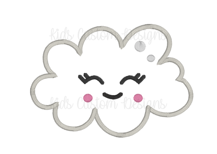 Smiling cloud Embroidery Appliqué Design