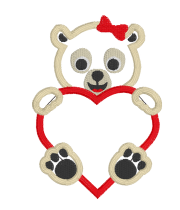 Valentines Girl Bear Embroidery Appliqué Design