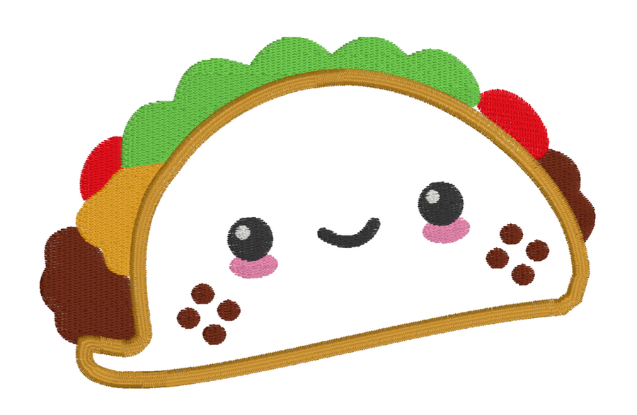 Cute Taco Embroidery Appliqué Design