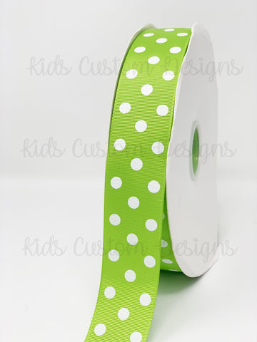 Grosgrain Ribbon Polka Dot Apple Green with White Dots (W: 1-1/2 inch | 100 yards)