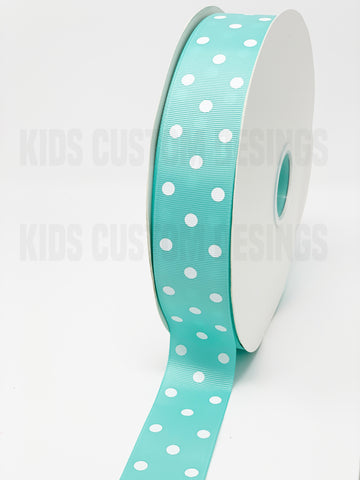 Grosgrain Ribbon Polka Dot Aqua with White Dots (W: 1-1/2 inch | 100 yards)