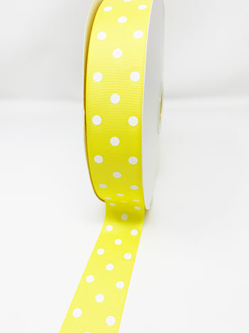 Grosgrain Ribbon Polka Dot Baby Yellow with White Dots (W: 1-1/2 inch | 100 yards)