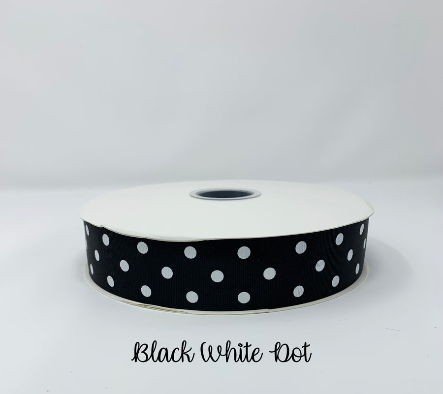 Grosgrain Ribbon Polka Dot Black with White Dots (W: 1-1/2 inch | 100 yards)