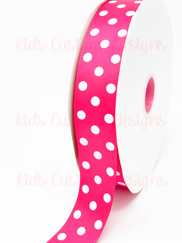 Grosgrain Ribbon Polka Dot Fuchsia with White Dots (W: 1-1/2 inch | 100 yards)