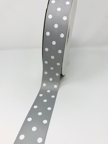 Grosgrain Ribbon Polka Dot Gray silver with White Dots (W: 1-1/2 inch | 100 yards)