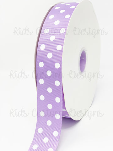 Grosgrain Ribbon Polka Dot Lavender with White Dots (W: 1-1/2 inch | 100 yards)