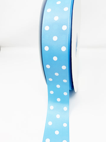 Grosgrain Ribbon Polka Dot Light Blue with White Dots (W: 1-1/2 inch | 100 yards)