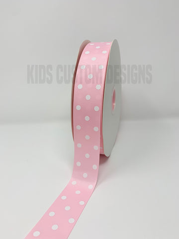 Grosgrain Ribbon Polka Dot Light Pink with White Dots (W: 1-1/2 inch | 100 yards)
