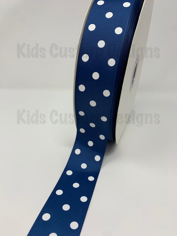 Grosgrain Ribbon Polka Dot Navy with White Dots (W: 1-1/2 inch | 100 yards)