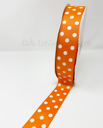 Grosgrain Ribbon Polka Dot Orange with White Dots (W: 1-1/2 inch | 100 yards)
